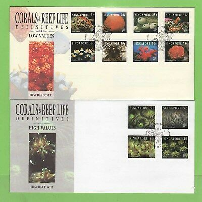 Singapore 1994 Reef Life (1st series) definitives on two First Day Covers