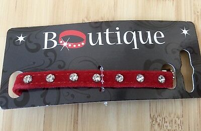 Brand New Red Velvet Crystal Pets At Home Cat Collar FREE POSTAGE