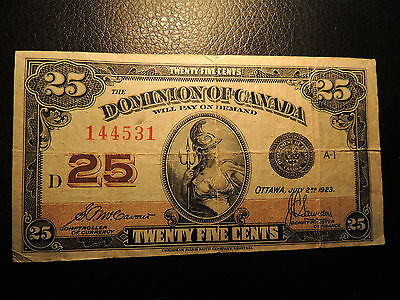 1923 DOMINION OF CANADA SHINPLASTER 25 CENTS MCCAVOUR SAUNDERS DC-24c 144531