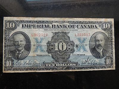 1923 Imperial Bank Of Canada $10 Ten Dollars 375-18-06 Howland Stamping Variety
