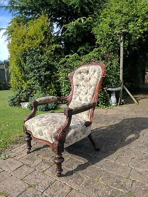 Antique Carved Walnut Spoon Back Armchair - Circa. 1860