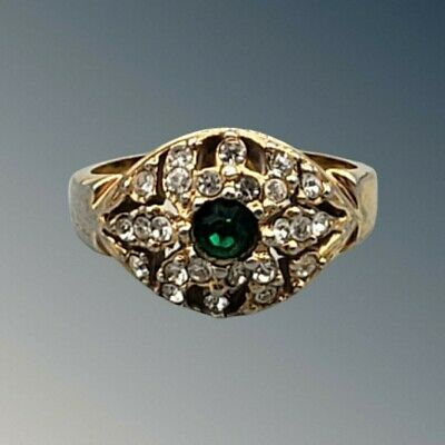 Vintage Ring Green Stone with Rhinestones  Roman on Inside of the Band 8.5