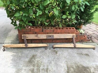 Vintage Wood And Metal Double Two Horse Tree Ox Antique Rustic Iron Farm