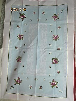 Vintage German linen Tablecloth light turquoise purple green white
