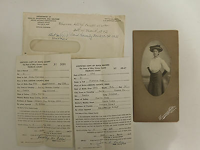 Cabinet Photo Florence Ross African American Black Woman Xenia Oh Birth Certific