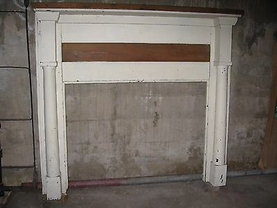 "Antique Pine Fireplace Mantel Primitive 54-1/2"" Wide x 50-1/4 High Overall"