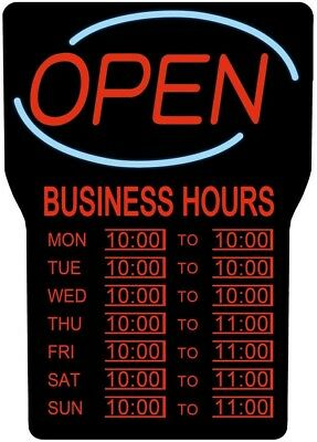 LED Lighted Business Hours Open Closed Sign 15 in. x 24 in.