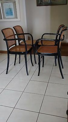 4 Thonet Chairs model 811 Prague Side & Armchairs Mid-Century Cane Bentwood