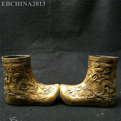 """4.8"""" China Fengshui Collect Brass Lucky Dragon Relief Ancient Toys Shoes Statue"""