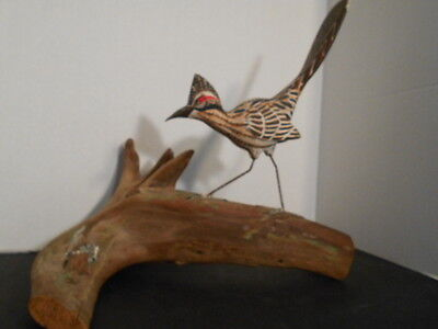 Vintage  Carved Road Runner Bird Mounted on Drift Wood