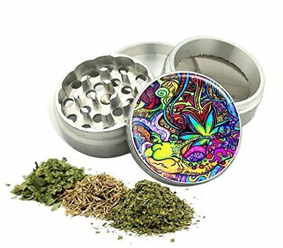 Psychedilic Tobacco Grinder Small Aluminum Herb/Spice Crusher 4 Piece New