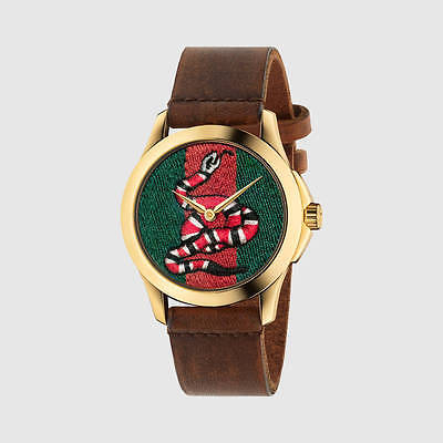 f4c228297e2 GUCCI Medium G-Timeless YA1264012 Snake Insignia Leather Strap Watch