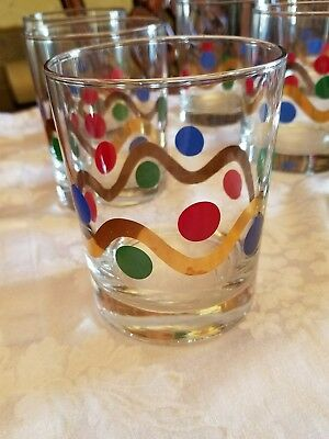 9 Rocks red blue green dots wavy gold line holiday celebration Christmas tumbler