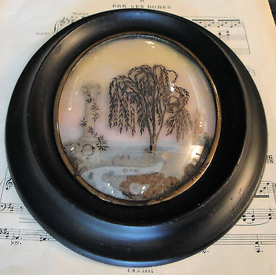 Large Antique French Mourning Hair Art Tomb Weeping Willow River Church c.1880