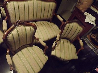 Antique Victorian Carved Rococo Revival Parlour Set Sofa/Chairs/Marble Tables