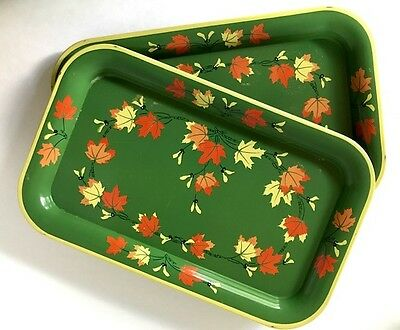 "Vintage Green Metal Serving Trays with Fall Leaves 14 1/4"" x 8 1/4"""