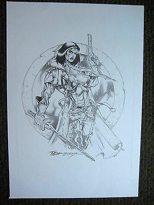 Tim Tyler Vigil Original Art Female Warror Faust