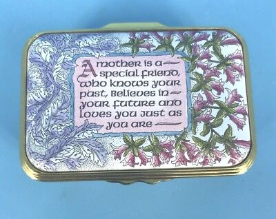 """Halcyon Days Enamels Exclusive Rectangular Hinged """"a Mother Is A."""". Trinket Box"""