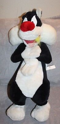 """WARNER BROS LOONEY TUNES - 27"""" Sylvester the Cat Tweety Feathers in Mouth PLUSH"""