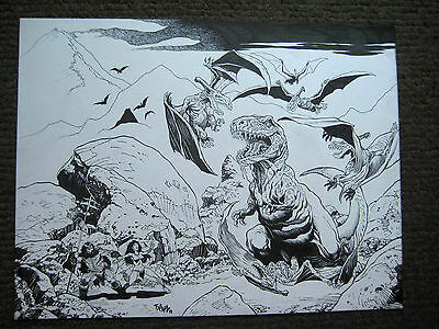 Tim Vigil Original Art Dinosaur World BIG Nice Detail!!