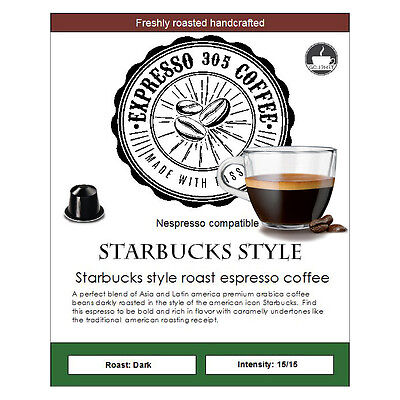 100 Starbucks Style Nespresso capsules pods compatible FRESHLY ROASTED coffee