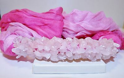 GENUINE! Brazilian Rose Quartz Encrusted Pink Two Tone 100% Cotton Scarf!