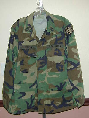 SHIRT Authentic Woodland Camo US Army Seen Action Official S Mens+5 Patches Cool