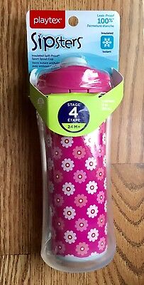 New Playtex Sipsters Stage 4 Sport Spout Sippy Cups Pink Insulated Spill Proof