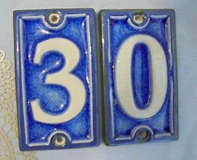 BLUE WHITE PORCELAIN, Occo Pottery, Home Numbers Signs ,30 ,Vintage Collectibles