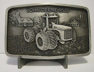 John Deere 9520 Tractor Pewter Belt Buckle 2001 Limited Ed Waterloo Operations