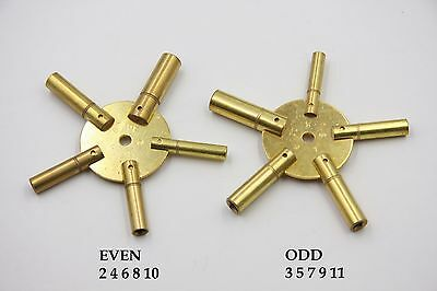 Pair of Universal 5 Prong Clock Winding Keys Even and ODD Sizes