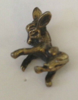 Vintage Very Cute Playful Sculpted Donkey B old metal lapel pin