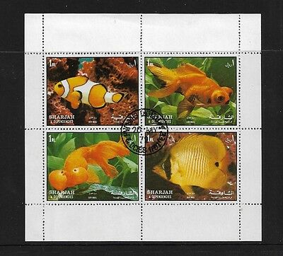 SHARJAH - 1972 Fish, mini sheet