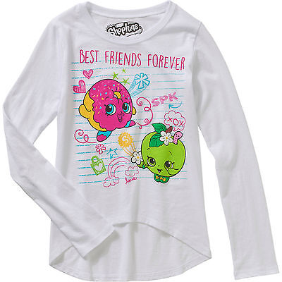 Shopkins Girls' Best Friends Forever Long Sleeve Scoop Neck HiLo Graphic Top 4-5