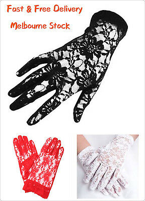 Deluxe Lady Lace Grove Black Red White Short Glove Opera Hen's Night Party Costu