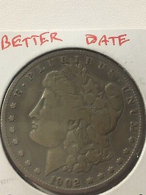1902 S Morgan Silver Dollar $1 Coin Fine Rare Key Date Low Mintage 1,530,000