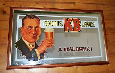 Tooth's KB Lager Large Mirror Vintage 100cm x 60cm Rare Find