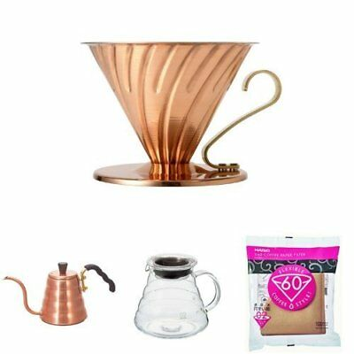 HARIO V60 Copper Coffee Dripper 1-4 Cup & Drip Kettle 700 ml etc lots of 4 set