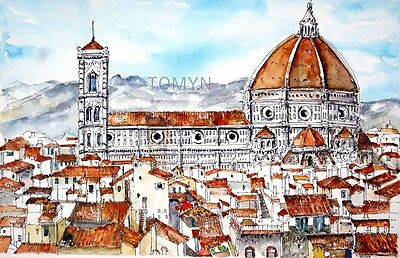 ART PRINT. Cattedrale Santa Maria del Fiore.Church Italy. FLORENCE. Italy Art.