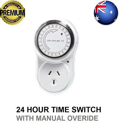 Premium Time Switch - 24 Hour Timer Australian 10A Plug With Manual Overide