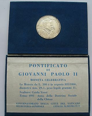 VATICAN 500 Lire 1991 Social doctrine Silver Coin Mint Package
