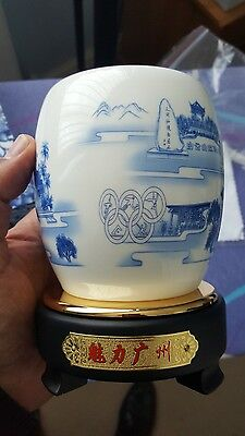 Chinese Vase olympics TaiHe Shenzhen Gentlemans Porcelain on rotating stand