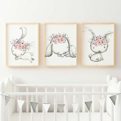 Woodland Nursery Prints Set of 3 Boho Floral Bunny Baby Girls Bedroom Wall Art