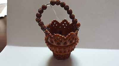 Antique Victorian Coquilla Nut Hand Carved Basket