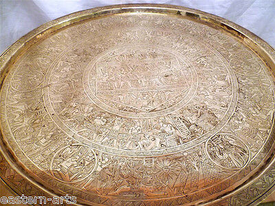 Antique Egypt Engraved Egyptian Ancient Figures 65cm Brass Table Tray + Stand G7