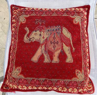 Vintage continental embroidered red cushion depicting an elephant