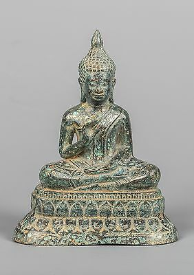 Antique Khmer Style Seated Buddha Statue Dharmachakra Teaching Mudra 12cm/5""