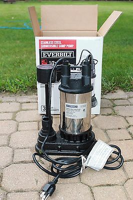 Everbilt 1/2 HP 4200 GPH Submersible Sump Pump SP05002VD Tested and Works (VRFL)