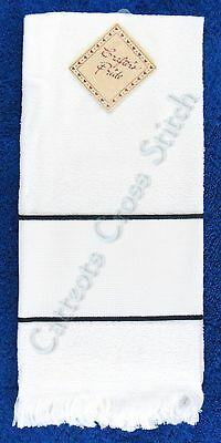 Hand Towel To Cross Stitch With Aida Band Classic White & Black OOP