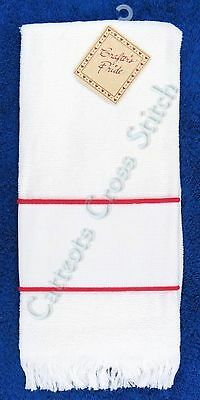 Hand Towel To Cross Stitch With Aida Band Classic White & Red OOP
